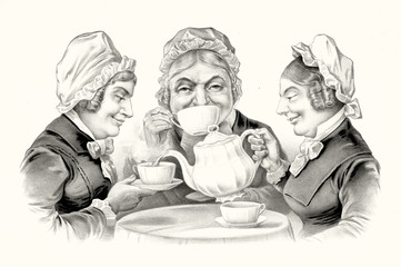 Three elderly smiling women drinking tea around a little table. Old humorous illustration by unidentified author, publ. in New York, 1883