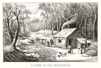 Woden house in a wild forest with family, poultry and horse. Provisions for winter season, bare trees. Old illustration by Currier & Ives, publ. in New York, 1870""