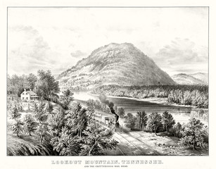 Ancient train travels trough a vaste natural landscape. Lookout Mountain,Tennessee, and Chattanooga railroad. Old illustration by Currier & Ives, publ. in New York, 1866
