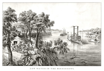 Tipical landscape along the Mississippi river. Vegetation, ancient huts and steam boats. Old illustration by Currier & Ives, publ. in New York, 1867