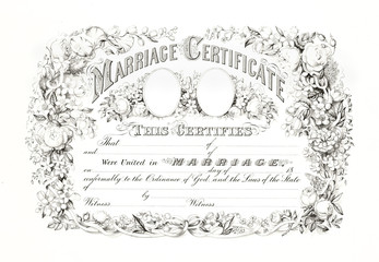 Reproduction of antique marriage certificate with floral frame. Old illustration by Currier & Ives, publ. in New York, 1875