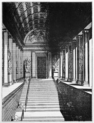 Luxenbourg Palace staircase, Paris. Interior context and central perspective. Old Illustration by Jackson, published on Magasin Pittoresque, Paris, 1834