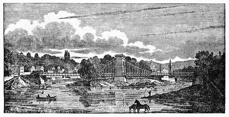 Ancient european cityscape with a bridge as the main element. Ile Barbe suspension bridge, Lyon, France. Old Illustration by unidentified author, published on Magasin Pittoresque, Paris, 1834
