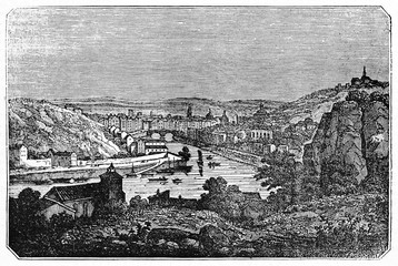 Old view of Lyon from the Pierre scize, France. Old Illustration by unidentified author, published on Magasin Pittoresque, Paris, 1834