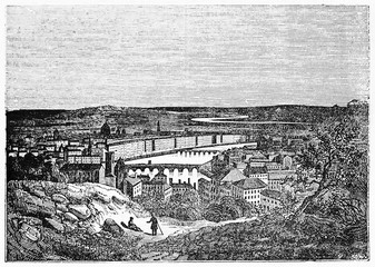 Wall Mural - Old cityscape view from a top of a hill. Lyon from the Croix-Rousse, France. Old Illustration by unidentified author, published on Magasin Pittoresque, Paris, 1834