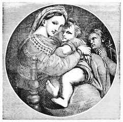 Raphael's picture Madonna della Seggiola (Virgin on chair) black and white reproduction. Created Old Illustration by Morghen and Jackson after Raphael, published on Magasin Pittoresque, Paris, 1834