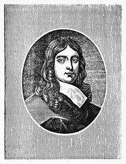 Old engraved portrait of John Milton (1608 � 1674), English poet, in a oval frame. Old Illustration by unidentified author, published on Magasin Pittoresque, Paris, 1834.""
