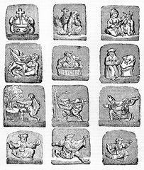 Old medieval religious icons reproduction of twelve misericordes. After drawing of destroyed misericord in Corbeil Saint-Spire cathedral. Published on Magasin Pittoresque, Paris, 1834