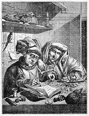 Two medieval people counting money on a desk. Reproduction of Quentin Metsys picture: Misers. Created Old Illustration by Jackson after Metsys, published on Magasin Pittoresque, Paris, 1834