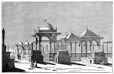 Ancient muslim cemetery in Cairo, Egypt, featured by typical shapes of the arabic architecture. Old Illustration by Jackson, published on Magasin Pittoresque, Paris, 1834