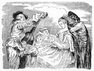 Music lesson in a medieval context with people dressed in ancient clothes. Old Illustration by Gigoux, Andrew, Best and Leloir after Watteau, published on Magasin Pittoresque, Paris, 1834