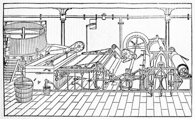 Wall Mural - Explication of a ancient paper making machine with his wheels and gears. Old Illustration by unidentified author, published on Magasin Pittoresque, Paris, 1834