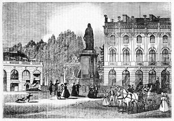 Stanislas square with Stanislas Leszczynski statue in an ancient context with people and buildings, Nancy, France. Old Illustration by Sevatteint and Jackson, Magasin Pittoresque, Paris, 1834