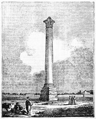 Pompey pillar in the past, Roman triumphal column in Alexandria, Egypt. Old Illustration by unidentified author, published on Magasin Pittoresque, Paris, 1834