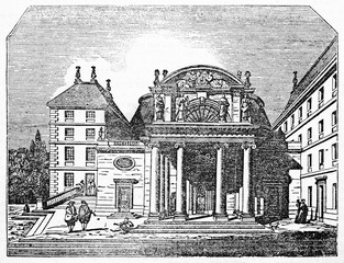 Front view of Port-Royal-des-Champs abbey church portal (which no longer exists), near Paris. Old Illustration by unidentified author, published on Magasin Pittoresque, Paris, 1834