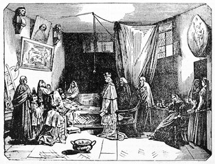 Nicolas Poussin death in a room with a king and other people (French baroque painter 1594 -1665). Old Illustration by Andrew Best and Leloir after Granet published on Magasin Pittoresque Paris1834