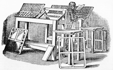 Wall Mural - Old illustration of movable type composition in printing workshop. Old Illustration by unidentified author publ. on Magasin Pittoresque Paris 1834