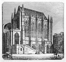 Ancient external evening view of Sainte-Chapelle (Holy-Chapel) Paris. Old Illustration by Jackson,  published on Magasin Pittoresque Paris 1834