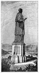Old view of the big statue of the Colossus of San Carlo Borromeo Arona Italy. After Crespi published on Magasin Pittoresque Paris 1834