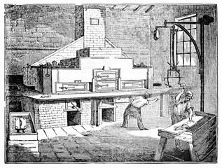 Ancient workers in a large stereotypy workshop (printing technique). Old Illustration by unidentified author published on Magasin Pittoresque Paris 1834