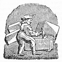 Iconic illustration of an ancient stonecutter working on stone blocks. After drawing of destroyed misericord in Corbeil Saint-Spire cathedral. Published on Magasin Pittoresque Paris 1834