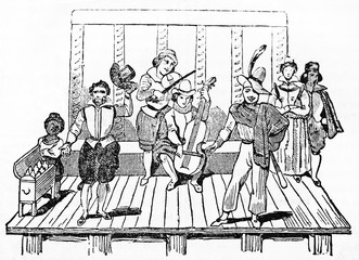 Ancient musicians and actors of Tabarin (and Mondor) Parisian street theater playing on the stage. After engraving of 17th century published on Magasin Pittoresque Paris 1834