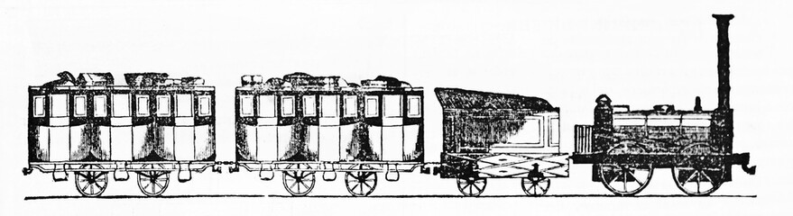 Ancient train, side view of locomotive with wagons isolated on white background in a rough style. Old Illustration by unidentified author published on Magasin Pittoresque Paris 1834.