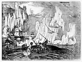 Ancient rough illustration of a boat whaling in the cold North Sea with icebergs on background. Old Illustration by unidentified author published on Magasin Pittoresque Paris 1834