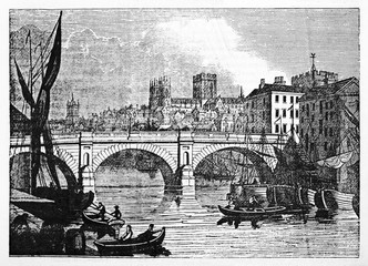 Wall Mural - York ancient cityscape, England, with his river and stone bridge in foreground and the rest of buildings in background. Old Illustration by Jackson published on Magasin Pittoresque Paris 1834