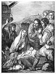 The Adoration of The Sheperds, famous religious event of Jesus Christ nativity. Old Illustration by Josa de Ribera. After De Ribera published on Magasin Pittoresque Paris 1834