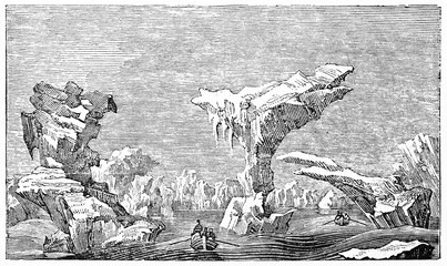 Ancient boat ventures among icebergs in the cold Arctic ocean. Horizontal graphic composition. Old Illustration by unidentified author published on Magasin Pittoresque Paris 1834