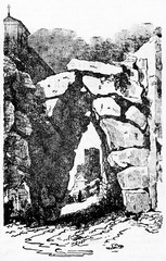 Strong stone entrance to a ancient town similar to a cave, Arpino acropolis portal Lazio Italy. Old Illustration by unidentified author published on Magasin Pittoresque Paris 1834