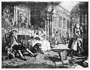Ancient aristocratic people quarrel in a elegant living room (Marriage-A-la-mode second of six pictures). ld Illustration by Hogarth depicting published on Magasin Pittoresque Paris 1834