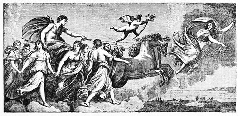 Group of mythological characters and a cart towed by two horses as rappresentation of the dawn, Aurora. Old illustration after Guido Reni published on Magasin Pittoresque Paris 1834