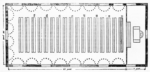 Old planimetry of the schematic arrangement of desks in a public school classroom, isolated on white background. Old Illustration by unidentified author, Magasin Pittoresque, Paris 1834.