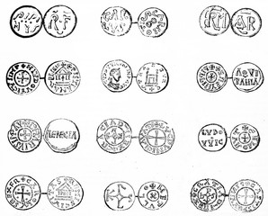 Antique set of french coins, isolated on white background. Old Illustration by unidentified author published on Magasin Pittoresque Paris 1834