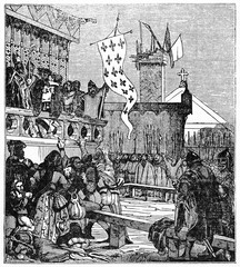 Public reading of a document by civil authority in front of a crowd of medieval people. Created Old Illustration by Jackson publ. on Magasin Pittoresque Paris 1834