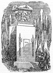 ancient stone monument to General Louis Desaix surrounded by weeping willows, Strasbourg France. Old Illustration by unidentified author published on Magasin Pittoresque Paris 1834