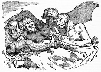 Devils cutting nails, ancient medieval grotesque context. Old caricature of Francisco Goya published on Magasin Pittoresque Paris 1834