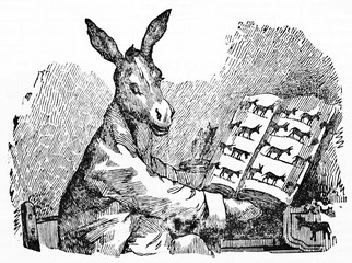Humorous learned donkey wearing ancient clothes reads a book. Ancient caricature of Francisco Goya published on Magasin Pittoresque Paris 1834