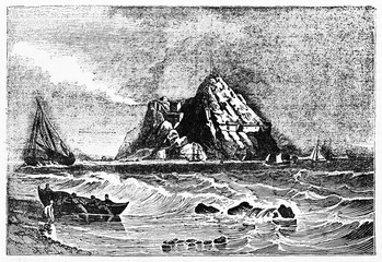 Stronghold on a rock in the rough sea and men carring a boat to the still ground, Dunbarton castle on the Clyde river Scotland. Old Illustration by Jackson published on Magasin Pittoresque Paris 1834