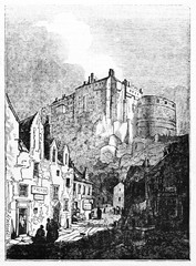 Ancient medieval scottish town with the Edinburgh castle in background. Old Illustration by unidentified author published on Magasin Pittoresque Paris 1834