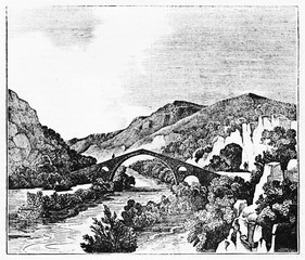Ancient medieval gothic bridge crossing a river surrounded by vegetation, Eurotas river in Laconia Greece. Old Illustration by unidentified author published on Magasin Pittoresque Paris 1834.