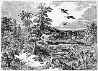 extinct species in their majestic ancient natural environment. Old Illustration by unidentified author published on Magasin Pittoresque Paris 1834