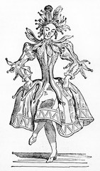 Elegant female jester dancing in her medieval woman dresses. Old Illustration by unidentified author published on Magasin Pittoresque Paris 1834