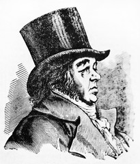 Ancient side view portrait of Francisco Goya (1746 - 1828), Spanish romantic painter, depicted on his profile wearing a top hat. By unidentified author published on Magasin Pittoresque Paris 1834
