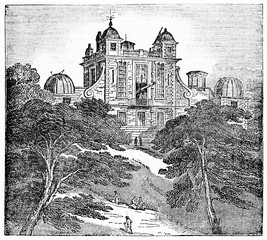 Ancient suggestive view of Royal observatory Greenwich (Flamsteed house) London, surrounded by nature and trees. Old Illustration by unidentified author published on Magasin Pittoresque Paris 1834