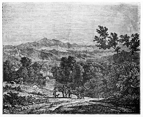 Old view of Grésivaudan valley, France. By unidentified author, published on Magasin Pittoresque, Paris, 1834