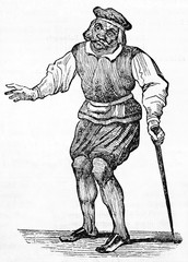 ancient comic masked character Jacquemin Jadot posing on stage with his scene clothes and holding a stick (17th century). Old Illustration by unidentified author on Magasin Pittoresque Paris 1834