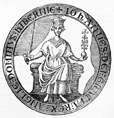 King John Lackland ancient seal as he affixed on the preliminaries of peace presented by the barons. Old Illustration by unidentified author published on Magasin Pittoresque Paris 1834.